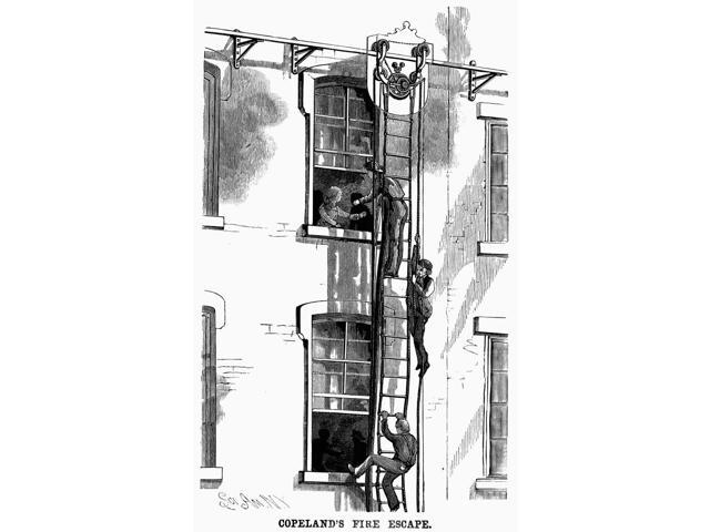 Fire Escape 1883 Nwood Engraving American 1883 Poster Print by  (18 x 24)
