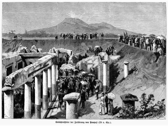 Pompeii Excavation 1880 Nexcavation Of The Ancient Ruins Of Pompeii Italy Wood Engraving German 1880 Poster Print by  (18 x 24)
