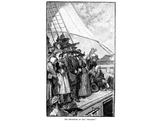 William Penn (1644-1718) Nfounder Of Colony Of Pennsylvania Penn And His Company Of Colonists Sailing For The New World From England Aboard The Welcome August 1682 Wood Engraving 1882 After Howard Pyl