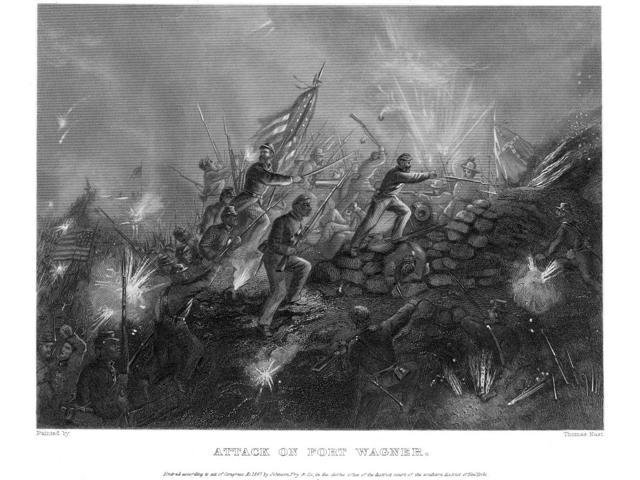 Battle Of Fort Wagner 1863 Nthe 54Th Massachusetts (Colored) Regiment Storming Fort Wagner South Carolina During The American Civil War 18 July 1863 Steel Engraving 1867 After Thomas Nast Poster Print