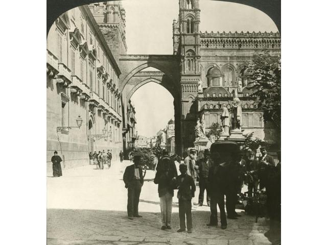 Italy Palermo 1908 Nthe ArchbishopS Palace And Cathedral On The Via Bonella In Palermo Sicily Italy Stereograph 1908 Poster Print by  (18 x 24)