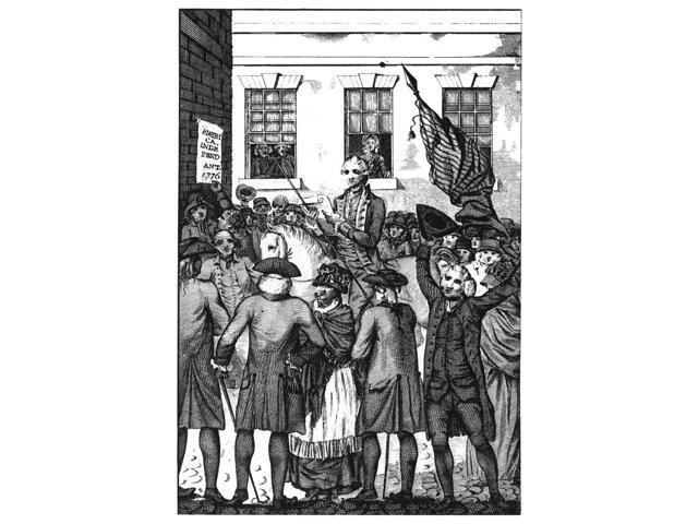 Philadelphia 1776 Njohn Nixon Making The First Public Reading Of The Declaration Of Independence In The State House Yard Philadelphia On 8 July 1776 English Line Engraving 1783 Poster Print by  (18 x