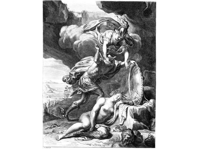 Mythology Perseus Nperseus Guided By The Hand Of Athena Uses Her Shield As A Mirror As He Prepares To Slay The Gorgon Medusa Line Engraving French Early 18Th Century Poster Print by  (18 x 24)