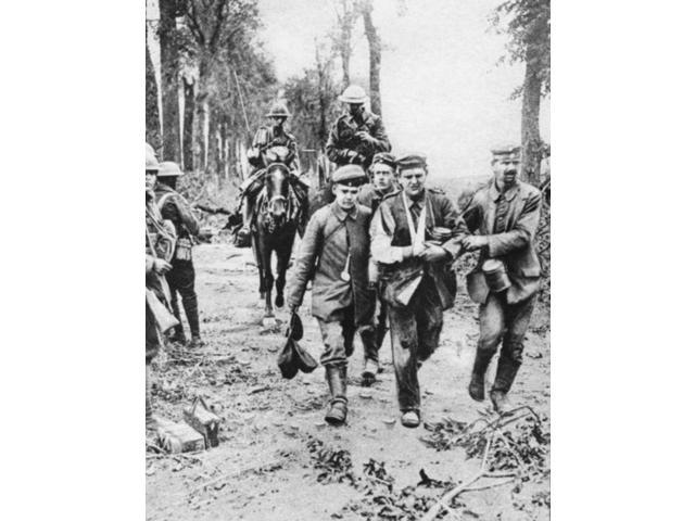 World War I Wounded Ncanadian Cavalrymen Herding  A Group Of Enemy Prisoners Near Cambrai France During World War I Photograph C1917 Poster Print by  (18 x 24)