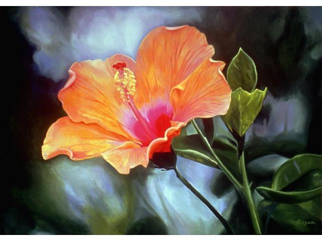 Bright Orange Hibiscus Flower Oil Painting Poster Print (8 x 10)