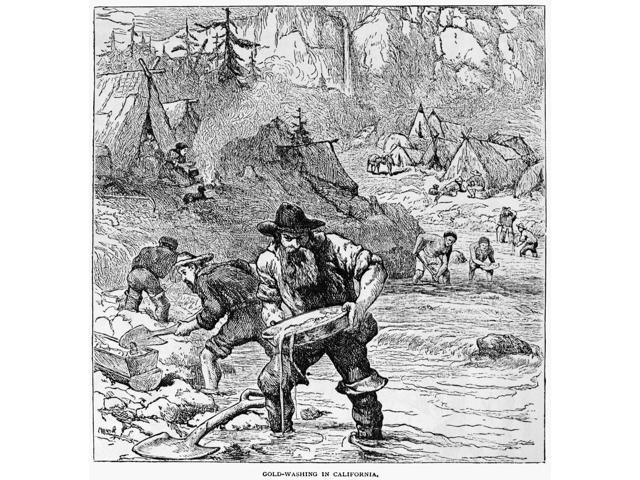 California Gold Miners NGold-Washing In California Miners Panning And Sluicing For Gold In A Stream In California Wood Engraving Late 19Th Century Poster Print by  (18 x 24)