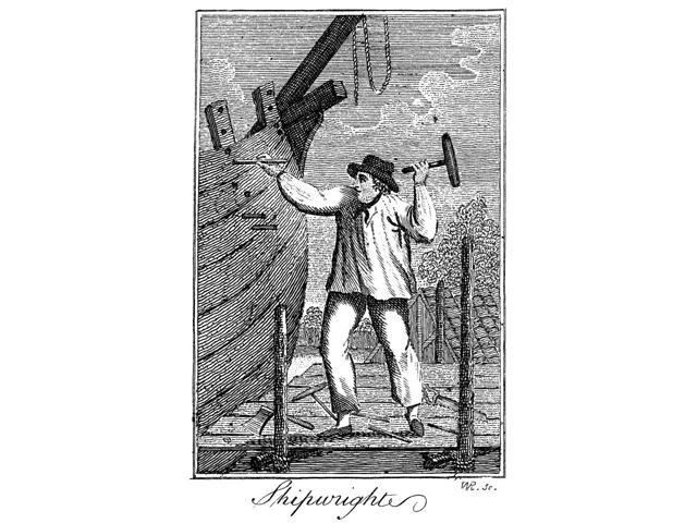 Colonial Shipwright Na Colonial American Shipwright Line Engraving Late 18Th Century Poster Print by  (18 x 24)