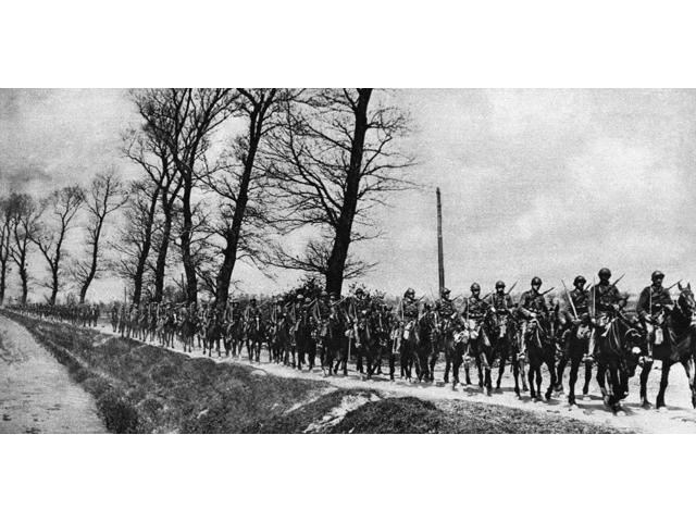 World War I Cavalry 1918 Nsquadron Of Belgian Cavalry Riding To Join Their Comrades In The Offensive That Started The Retreat Of The German Army From The Belgian Seacoast In 1918 Photograph Poster Pri