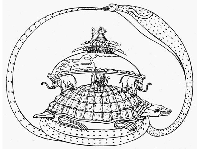 Hindu Universe Nhindu Cosmogram Depicting The Tortoise Akupara Supporting The Elephants Upon Which The Earth Rests Enclosed By The World-Serpent Asootee Drawing From An Ancient Hindu Ceramic Poster Pr