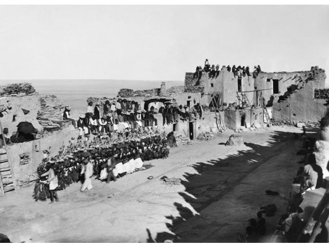 Hopi Ceremony C1900 Nhopi Dancers In Hemis Kachina Masks Receiving The Prayers And Good Wishes Of Villagers At A Pueblo In Arizona During The Niman Kachina Or Going Home Ceremony In The Month Of July
