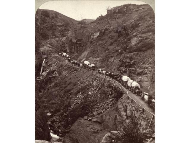 Colorado Ute Pass C1875 Nnative American Caravan In Ute Pass Colorado Stereograph By James Thurlow C1875 Poster Print by  (18 x 24)