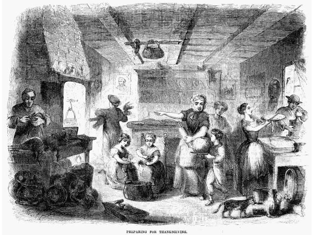 Thanksgiving 1855 NPreparing For Thanksgiving Wood Engraving American 1855 Poster Print by  (18 x 24)