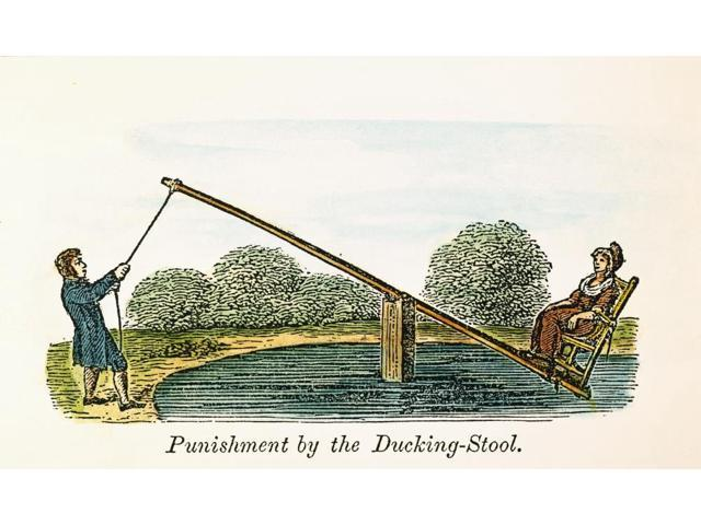 Colonial Ducking Stool Npunishment By The Ducking Stool In Colonial America Inflicted On A Woman Guilty Of Offence With The Tongue Colored Engraving 19Th Century Poster Print by  (18 x 24)