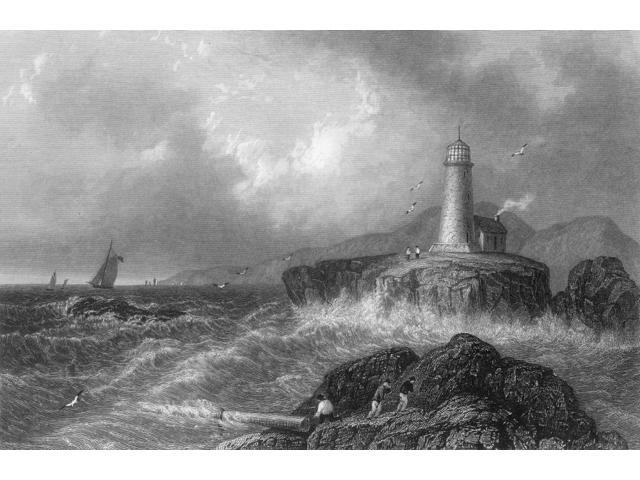 Maine Lighthouse 1839 Nmount Desert Rock Lighthouse Maine Steel Engraving English 1839 Poster Print by  (18 x 24)