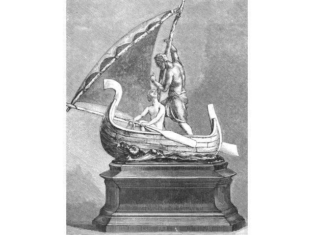 Yachting Trophy 1873 Nthe Bennett Prize Cup Wood Engraving American 1873 Poster Print by  (18 x 24)