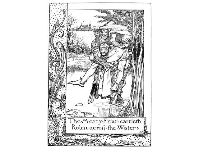 Robin Hood Nfriar Tuck Carries Robin Hood Across A River Pen And Ink Drawing By Howard Pyle From The Merry Adventures Of Robin Hood 1883 Poster Print by  (18 x 24)