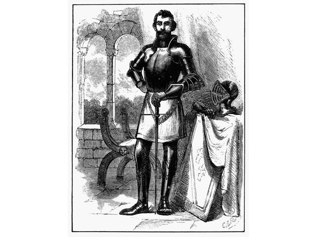 English Knight N16Th Century English Knight Line Engraving Poster Print by  (18 x 24)