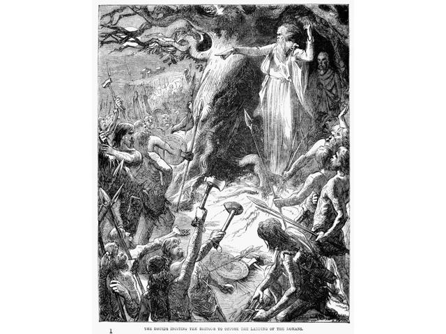 Druids And Britons Nthe Druids Inciting The Britons To Oppose The Landing Of The Romans Wood Engraving 19Th Century Poster Print by  (18 x 24)