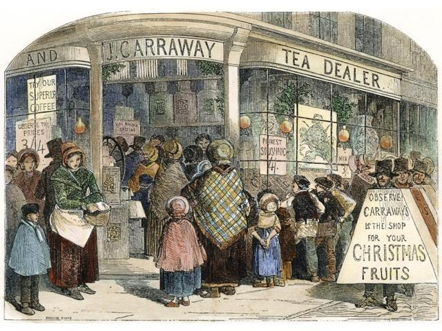 Christmas England 1850 Nthe GrocerS Shop At Christmas Wood Engraving English 1850 Poster Print by  (18 x 24)