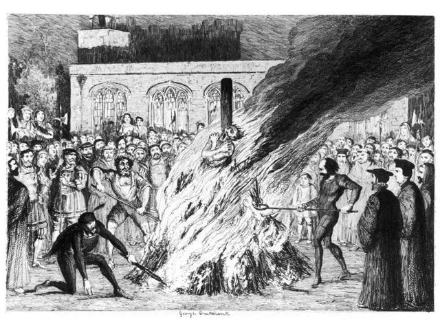 Cruikshank Tower Of London NThe Burning Of Edward Underhill On The Tower Green Depiction Of The Execution Of Religious Radical Edward Underhill During The Persecution Of Protestants Under The Reign Of