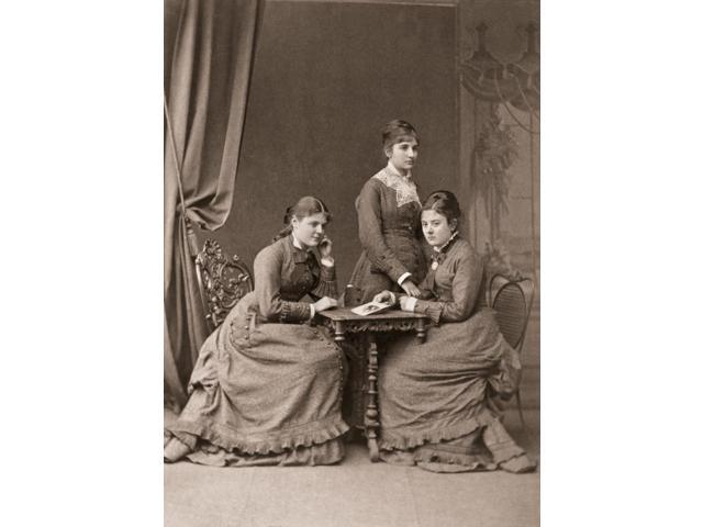Germany Sisters C1880 Nthree Young Women Probably Sisters Photographed At A German Spa Original Cabinet Photograph Bad Kreuznach Poster Print by  (18 x 24)