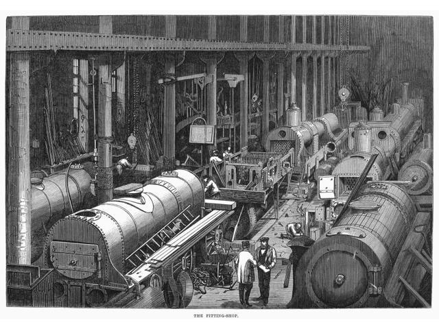 Locomotive Factory 1864 Nthe Fitting Room Of StephensonS Locomotive Manufactory At Newcastle-On-Tyne EnglandNwood Engraving English 1864 Poster Print by  (18 x 24)