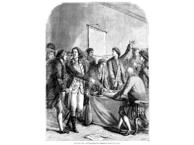 Declaration Of Independence Nthe Signing Of The Declaration Of Independence At Independence Hall In Philadelphia Pennsylvania 4 July 1776 Wood Engraving English 19Th Century Poster Print by  (18 x 24)