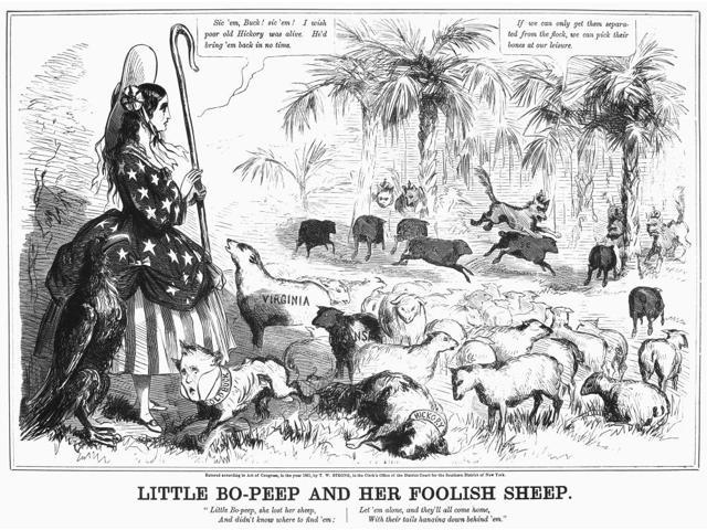 Secession Cartoon 1861 NLittle Bo-Peep And Her Foolish Sheep While A Fearful President James Buchanan (Old Buck) Runs Away Columbia Watches Helplessly As Secessionist South Carolina Leads Other States