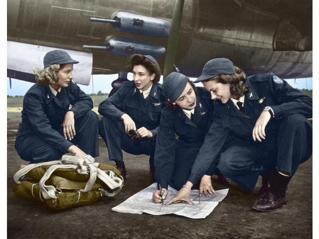 Wwii Women Pilots C1941 Nfour Female Pilots Looking At A Chart Photograph C1941 Digitally Colored By Granger Nyc -- All Rights Reserved Poster Print by  (18 x 24)