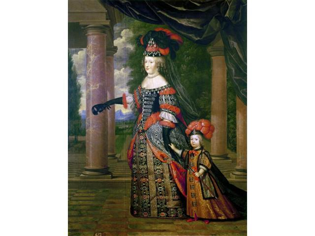 Maria Theresa Of Spain N(1638-1683) Queen Of Louis Xiv Of France 1660-1683 Maria Theresa And Her Son The Dauphin Louis Of France Painting By Pierre Mignard C1665 Poster Print by  (18 x 24)