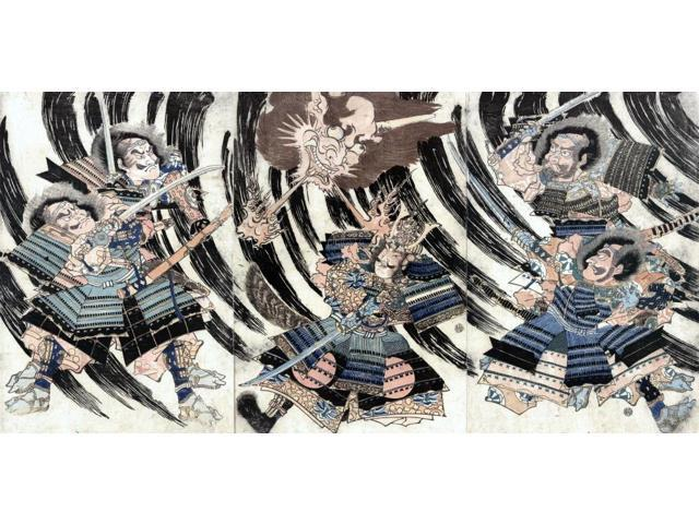 Minamoto No Yorimitsu N(944-1021) Known As Minamoto No Raiko Japanese Warrior Three Panels Showing Raiko Fighting Shutendoji The Oe Mountain Demon With The Help Of Four Hand-Picked Warriors Japanese W