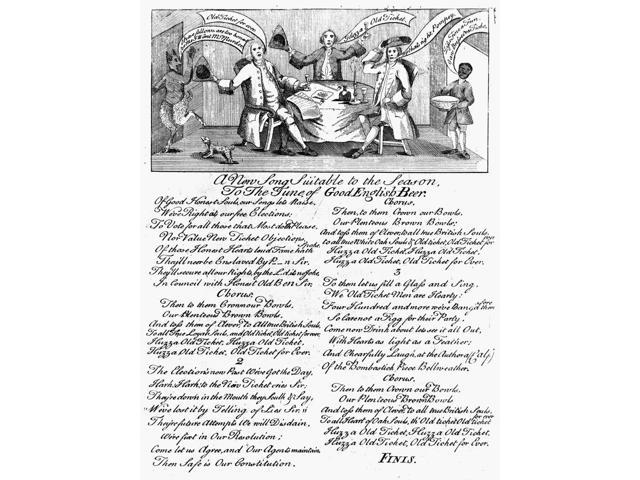 Election Broadside 1765 NA New Song Suitable To The Season To The Tune Of Good English Beer Broadside Featuring An Illustration And A Song Celebrating The Victory Of The Old Party In The Pennsylvania