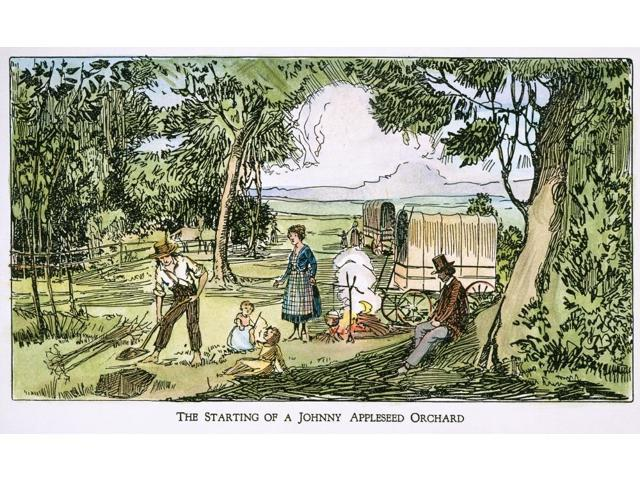 John Chapman (1775-1845) Nknown As Johny Appleseed Showing Settlers How To Plant Apple Trees Pen-And-Ink Drawing 19Th Century Poster Print by  (18 x 24)