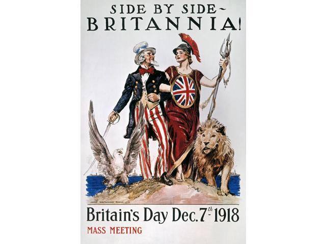 World War I US Poster NSide By Side Britannia American World War I Poster By James Montgomery Flagg 1918 Poster Print by  (18 x 24)