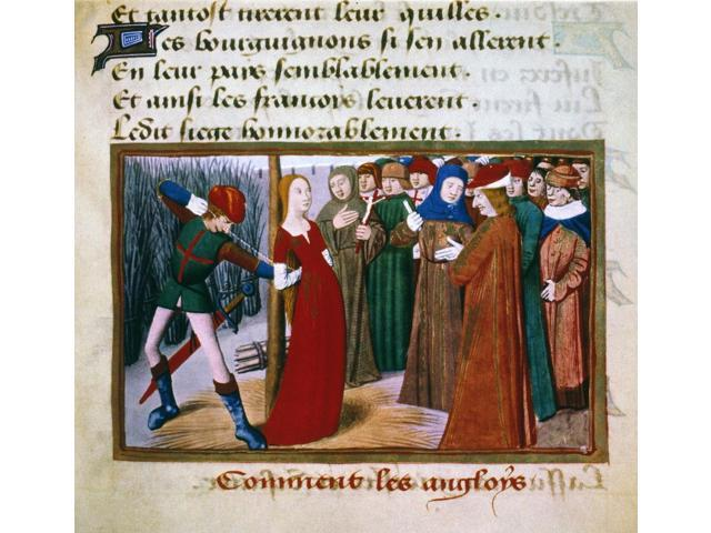 Joan Of Arc (C1412-1431) Nfrench National Heroine Njoan Of Arc At The Stake 1431 French Manuscript Illumination 15Th Century Poster Print by  (18 x 24)