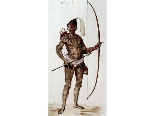 Florida Native American 1585 Nnative American Man Of Florida Watercolor C1585 By John White After Jacques Le Moyne De Morgues Poster Print by  (18 x 24)