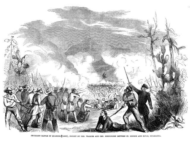 Battle Of Quarisma 1857 NBrilliant Battle Of Quarisma (Lent) Fought By General William Walker And General Henningsen Between St George And Rivas Nicaragua March 1857 Contemporary American Wood Engravi