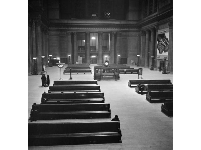 Chicago Union Station Nthe Waiting Room Of Union Station In Chicago Illinois At 1 AM Photograph By Jack Delano 1943 Poster Print by  (18 x 24)