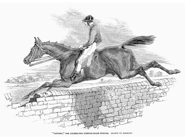 Steeplechase 1844 Nlottery The Celebrated Steeplechase Winner Wood Engraving English 1844 Poster Print by  (18 x 24)