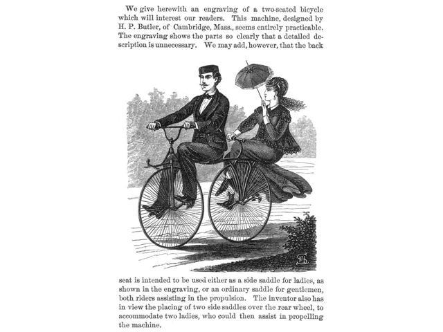 Bicycle Built For Two Nwood Engraving 1869 American Poster Print by  (18 x 24)