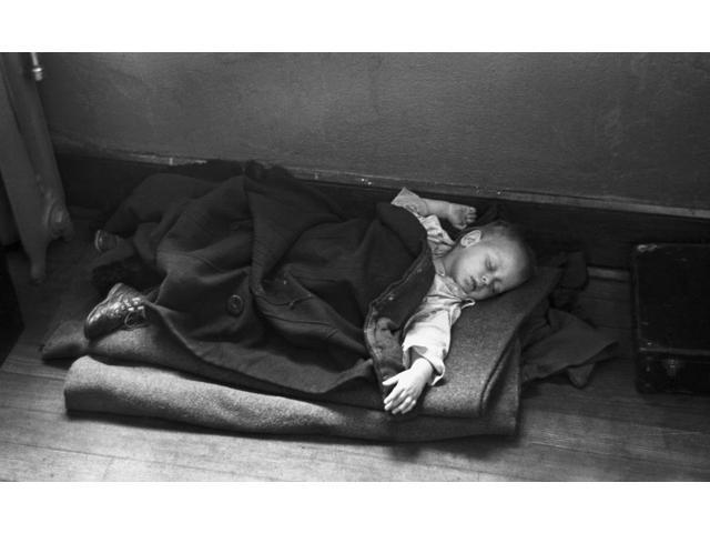Flood Refugee 1937 Na Young Flood Refugee Sleeping On The Floor In A Makeshift Bed Inside A Schoolhouse Sikeston Missouri Photograph By Russell Lee January 1937 Poster Print by  (18 x 24)