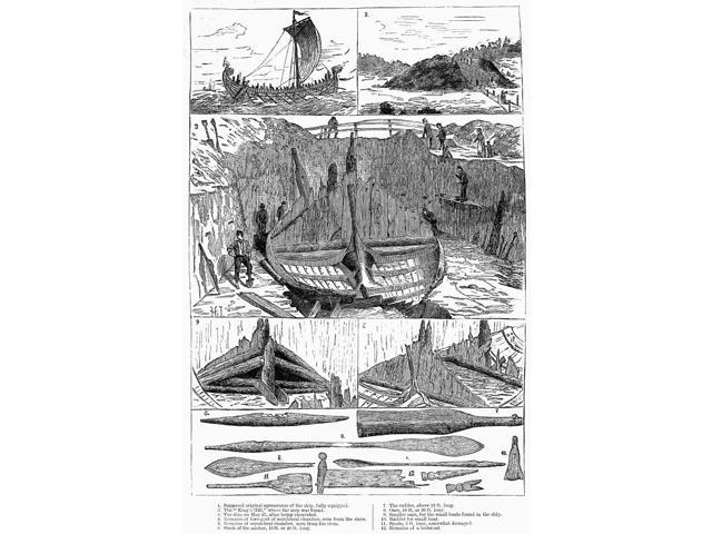 Norway Viking Ship Nmedieval Viking Ship Discovered At Sandefjord Norway Line Engraving 1880 Poster Print by  (18 x 24)
