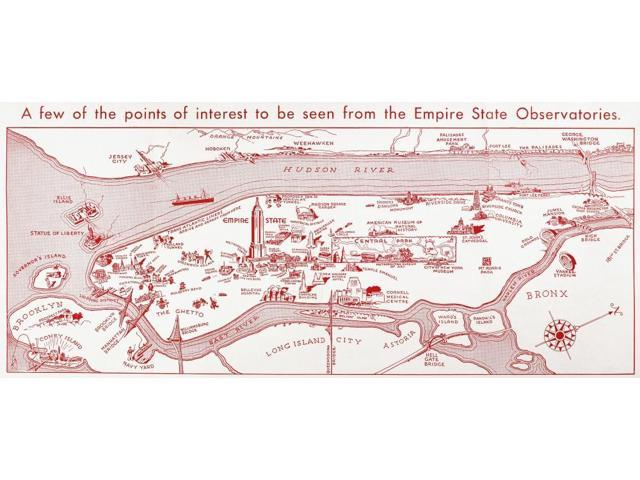 Map Manhattan C1935NA Few Of The Points Of Interest To Be Seen From The Empire State Observatories Tourist Map C1935 Poster Print by  (18 x 24)