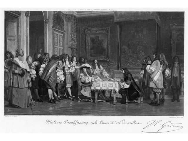 Moliere And Louis Xiv NMoliere Breakfasting With Louis Xiv At Versailles Photogravure After A Painting By Jean-LOn GRMe Late 19Th Century Poster Print by  (18 x 24)