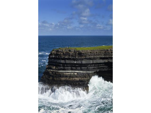 Sea Anglers fishing off the Cliffs of Downpatrick Head County Mayo Ireland Poster Print (12 x 19)