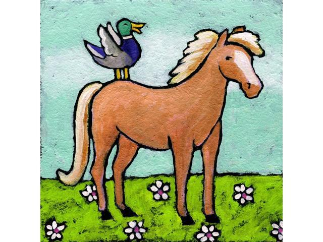 Horse with Laughing Duck Poster Print by Nelson (20 x 20)