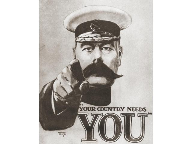 The 1914 British Wartime Recruitment Poster Depicting Lord Kitchener With The Words Your Country Needs You From The Story Of Seventy Momentous Years Published By Odhams Press 1937 Poster Print (13 x 1
