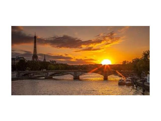 View of the Eiffel Tower with a bridge in the foreground during sunset Paris France Poster Print by Assaf Frank (24 x 48)