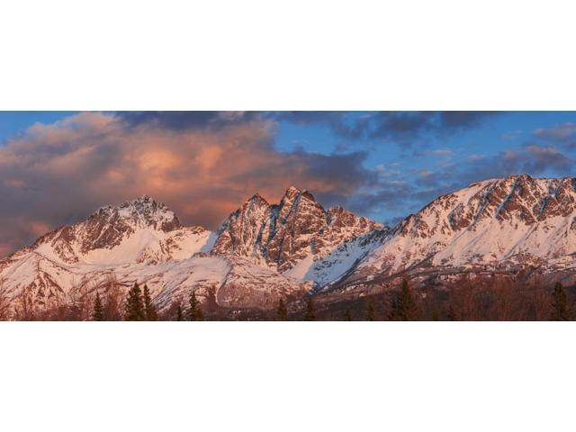 Evening light on Twin Peaks and Pioneer Peak of the Chugach Mountain Range Southcentral Alaska spring Poster Print (35 x 13)