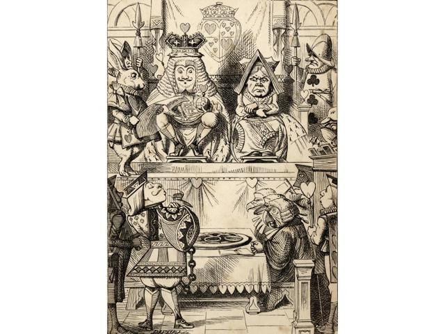 The Trial Of The Knave Of Hearts With The King And Queen Of Hearts Above Illustration By John Tenniel From The Book Alicess Adventures In Wonderland By Lewis Carroll Published 1891 Poster Print (12 x